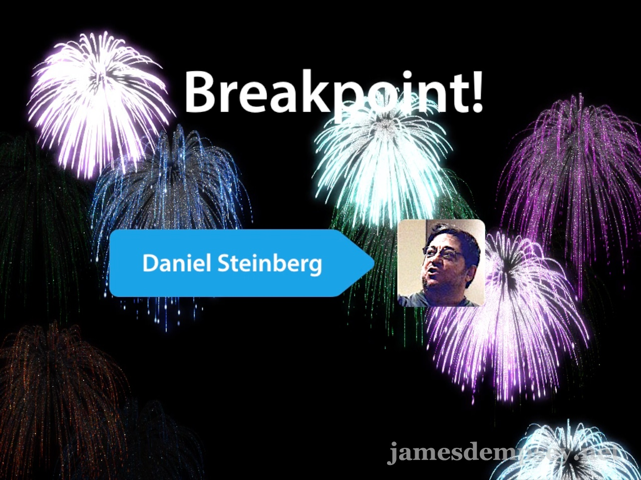 Image of fireworks behind Daniel Steinberg's name and photo to celebrate his induction into the Breakpoints